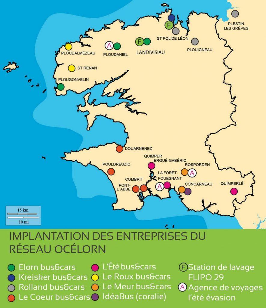 Carte de l'implantation des entreprises du réseau Océlorn