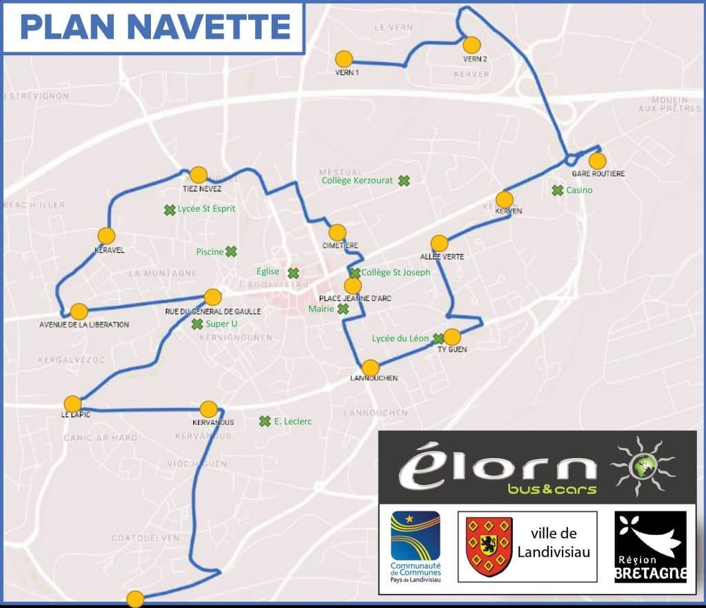 Plan de l'itinéraire de navette gare à Landivisiau