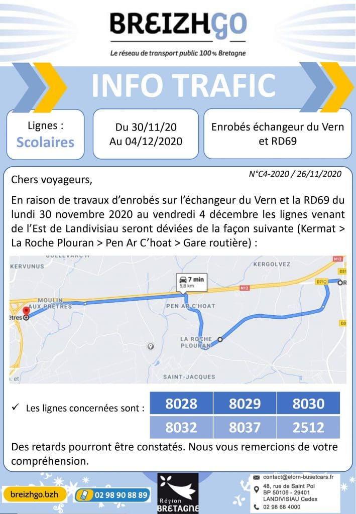 Transport scolaire : Déviation des lignes Breizhgo en raison de travaux d'enrobés en cours sur l'échangeur de la zone du Vern à Landivisiau.