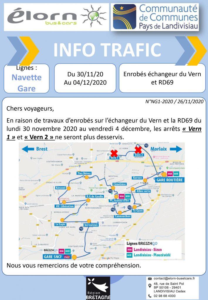 Navette Gare Landivisiau, nous ne desservirons pas les arrêts Vern 1 et Vern 2 du lundi 30 novembre au vendredi 4 décembre en raison de travaux d'enrobés sur l'échangeur du Vern et de la route départementale 69.