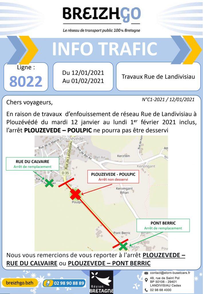 Ligne 8022, des travaux sont prévus sur la commune de Plouzévédé du 12 janvier au 1er février inclus, l'arrêt Poulpic ne sera pas desservi