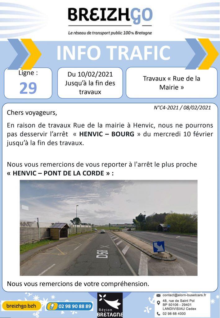 Info trafic Breizhgo ligne 29, travaux à Henvic, modifications des points d'arrêts