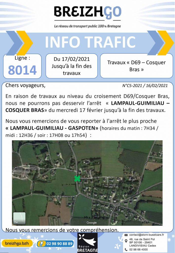 Lampaul-Guimiliau, Ligne Breizhgo 8014 info trafic. nous ne pourrons pas desservir l'arrêt «Cosquer Bras» en raison de travaux.