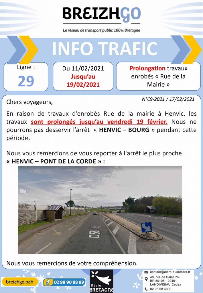 """Info trafic sur la ligne régulière 29 Breizhgo. Nous ne desservons pas l'arrêt """"Bourg"""" pendant les travaux d'enrobés à Henvic"""