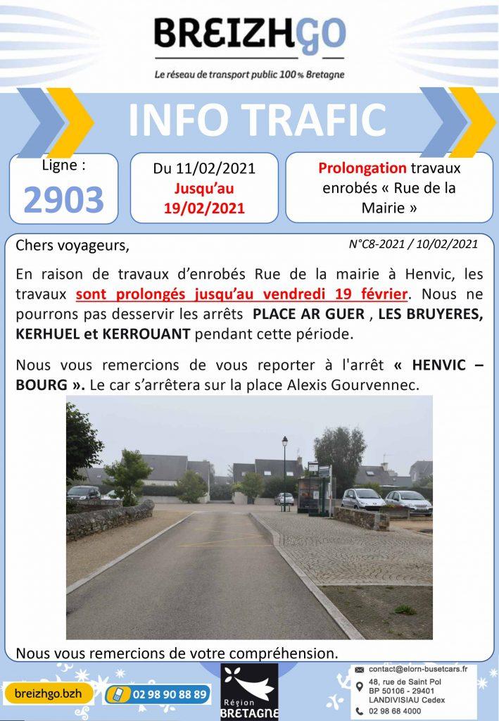 info trafic ligne Breizhgo 2903 : Travaux d'enrobés HENVIC, les arrêts Ar Guer , Les Bryuères, Kerhuel et Kerrouant ne sont pas desservis