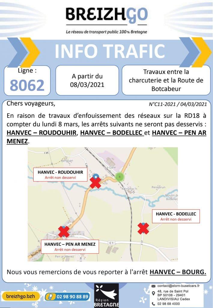 Hanvec : les travaux sur la RD18 impacte  le trafic de la ligne Breizhgo 8062, certains arrêts ne seront pas desservis
