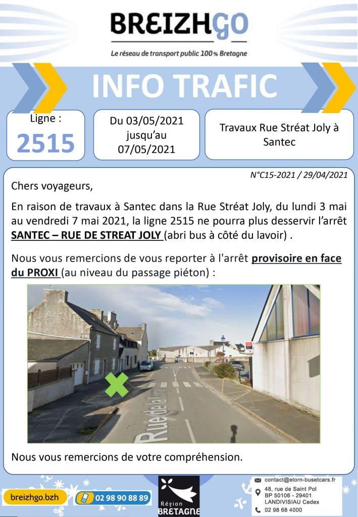 Travaux à Santec, du lundi 3 mai au vendredi 7 mai 2021, les cars de la ligne 2515 ne pourront plus desservir l'arrêt Rue de Streat Joly