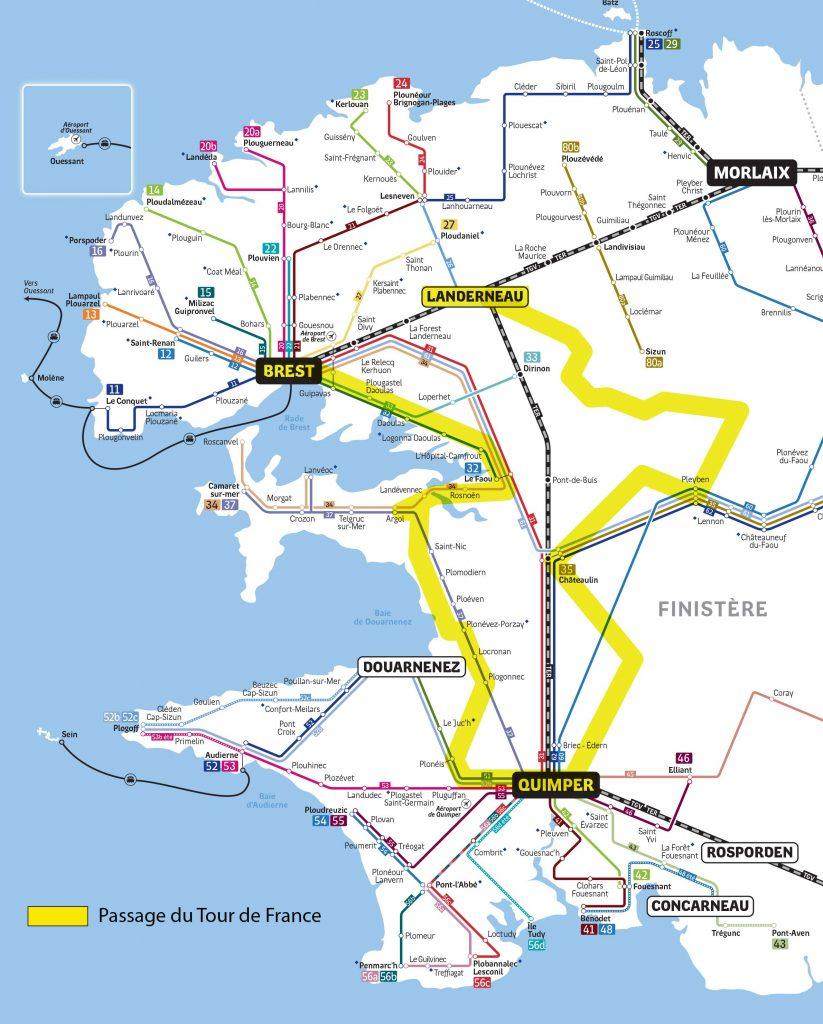 Carte du passage du tour de france dans le finistère pour vous aider à trouver vos lignes de transport afin de vous rendre à l'évènement