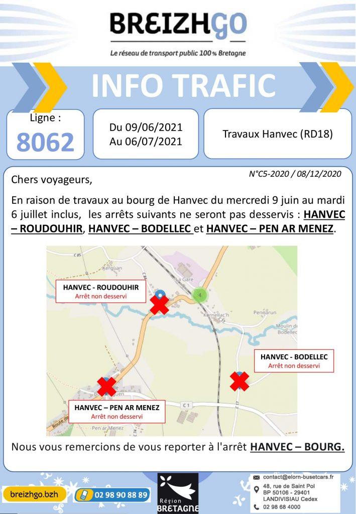 Travaux au bourg d'Hanvec, retrouvez toutes l'informations trafic de la ligne 8062 du réseau Breizhgo pour la période du 9 juin au 6 juillet.