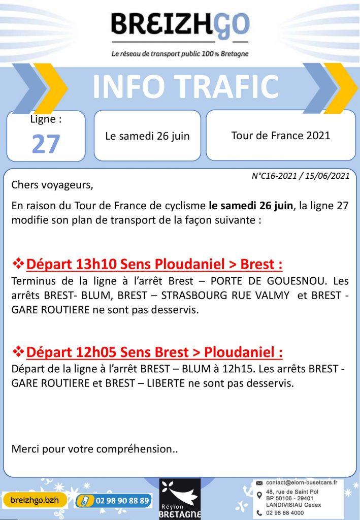 Tour de France, modifications des horaires et arrêts de bus sur la ligne 27 du réseau Breizhgo dans le sens Brest vers Ploudaniel et Ploudaniel vers Brest