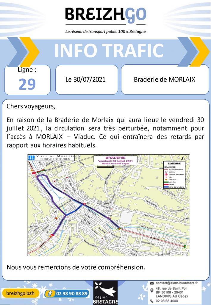 Plan de circulation de la ville de Morlaix pendant la braderie de l'été