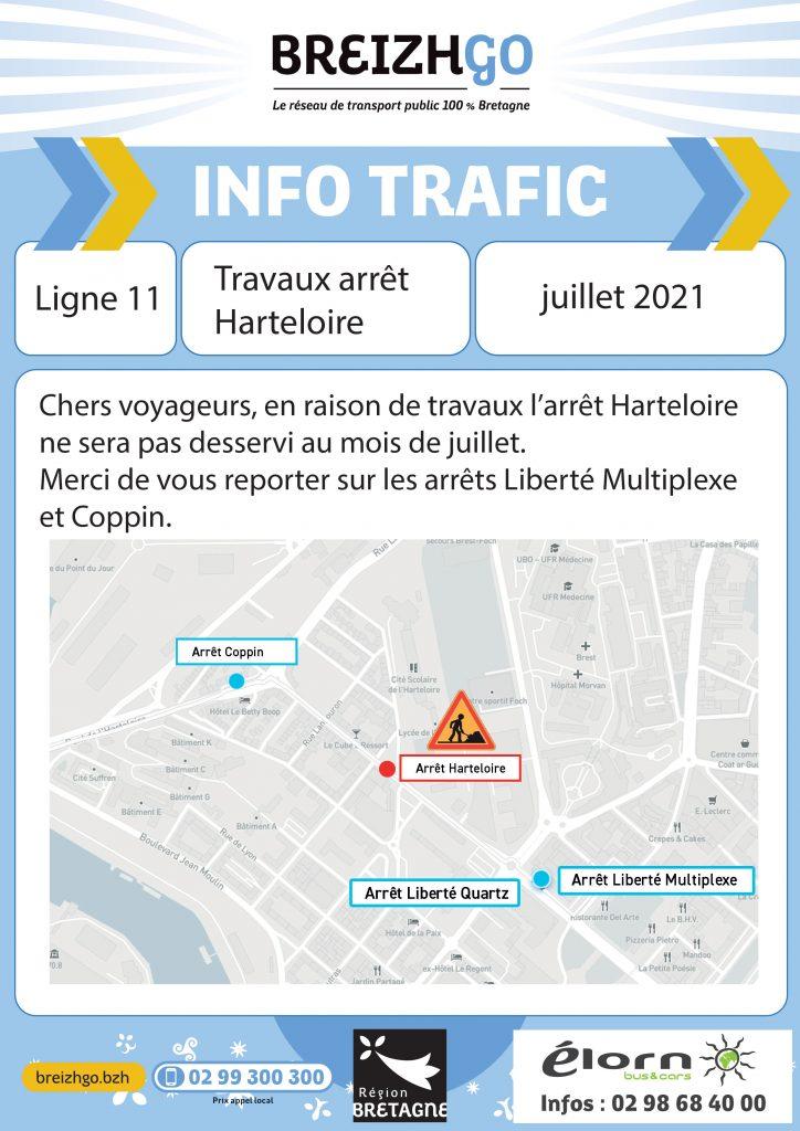 Info trafic Breizhgo ligne 11