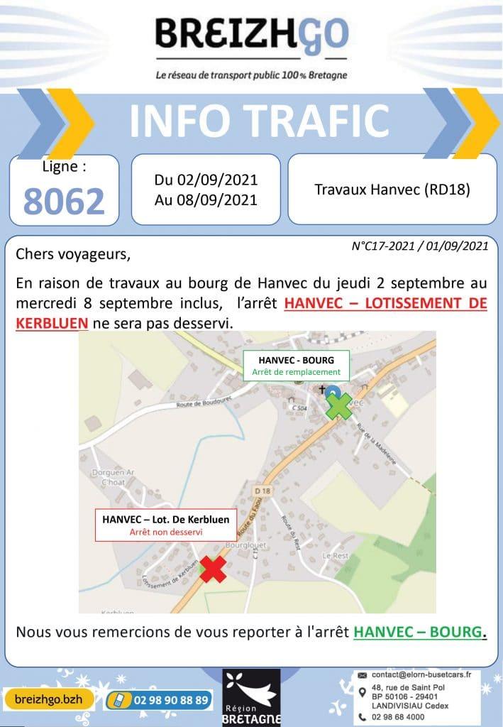Travaux Hanvec : la ligne 8062 sur Breizhgo ne dessert plus l'arrêt Kerbluen du 2 au 8 septembre.