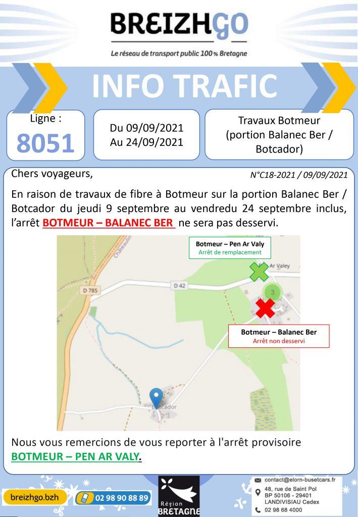 travaux à Botmeur du jeudi 9 au vendredi 24 septembre, modification des arrêts sur les lignes de transport scolaire Breizhgo 8051 et 8071