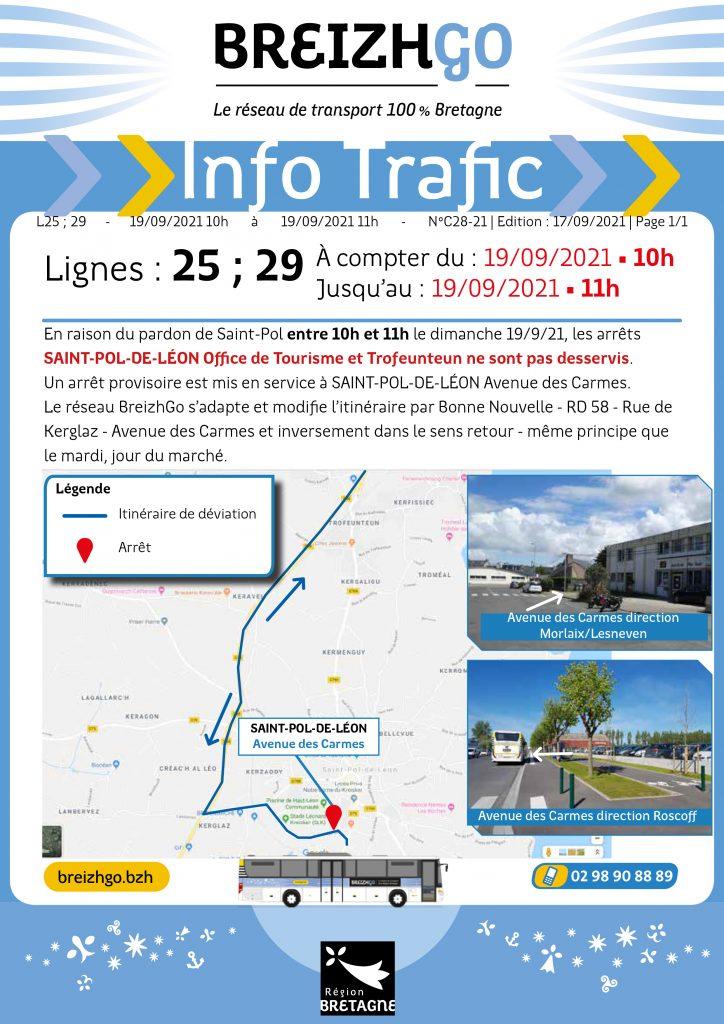 Le pardon de St Pol de Léon se déroule dimanche 19 septembre, par conséquent les autocars Breizhgo 25 et 29 modifient leur trajet et arrêt.