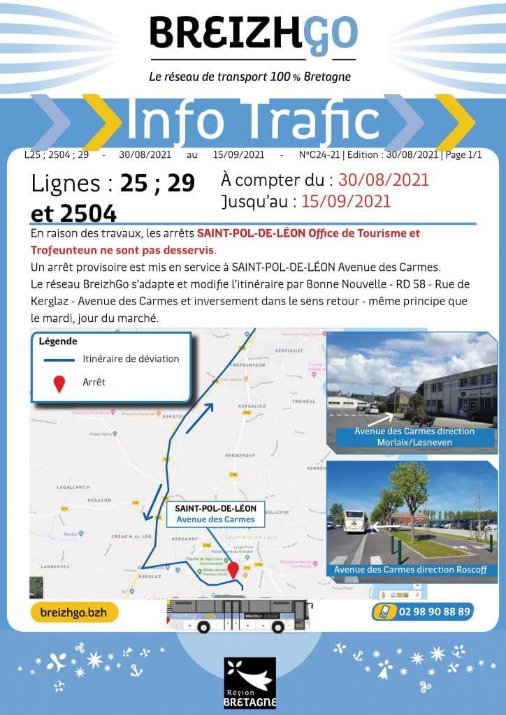 Nv itinéraire pour les lignes 25, 29, 2504 breizhgo. Les arrêts OT et Trofeunteun ne sont pas desservis du 30 au 15 sept. Nouvel arrêt Av. des Carmes