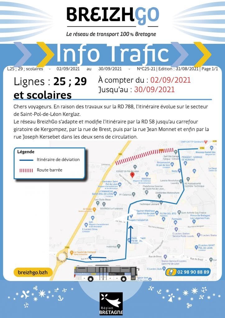 Saint-Pol-de-Léon : travaux sur les lignes 25 et 29 Breizhgo
