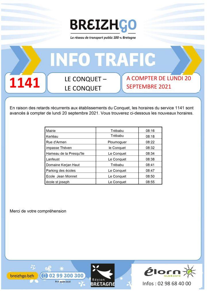 Nous avançons les horaires de passage de la Ligne 1141 à partir de lundi 20 septembre pour les établissements du Conquet.