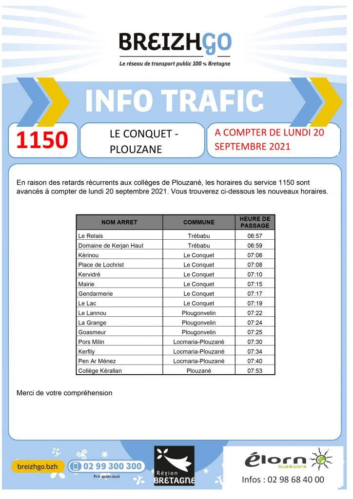 Nous avançons les horaires de la ligne 1150 à partir de lundi 20 septembre, pour éviter les retards aux collèges de Plouzané