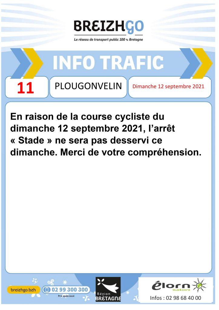 Dimanche 12 septembre, la course cycliste Pen Ar Bed passe au niveau de l'arrêt « Stade ». Par conséquent, nous ne desservirons pas cet arrêt ce dimanche. Merci de votre compréhension.