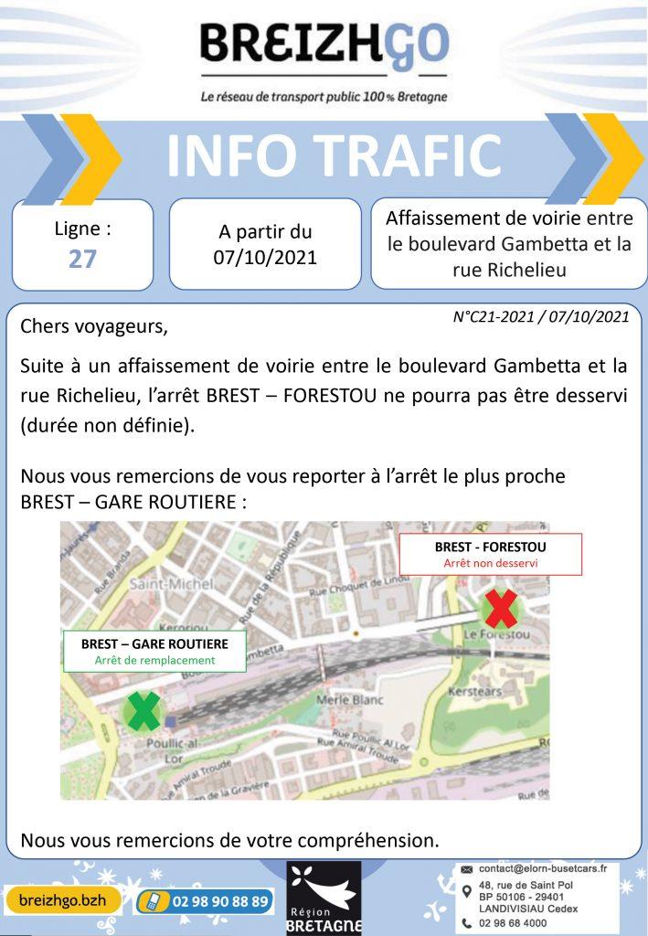 """Chers usagers, nous vous informons que la route entre le boulevard Gambetta et la rue Richelieu, c'est affaissée. C'est pourquoi nous ne desservirons plus l'arrêt """"Forestou"""". Nous vous demandons de vous reporter à l'arrêt le plus proche : Brest Gare Routière, merci de votre compréhension."""